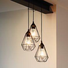 Suspension cascade 3 lumières en fil de métal diamètre 31cm Tarbes Noir http://www.homelisty.com/livraison-offerte-site-delamaison/
