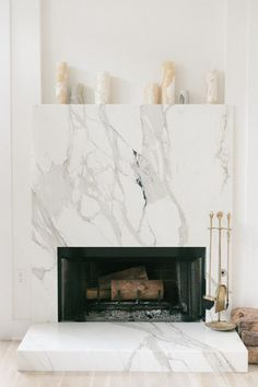 6 Authentic Tricks: Fireplace Living Room Modern tv over fireplace shiplap.Rock Fireplace With Builtins cozy fireplace deer heads.Fireplace Built Ins One Side. Simple Fireplace, Fake Fireplace, Shiplap Fireplace, Concrete Fireplace, Bedroom Fireplace, Marble Fireplaces, Fireplace Remodel, Fireplace Surrounds, Fireplace Mantels