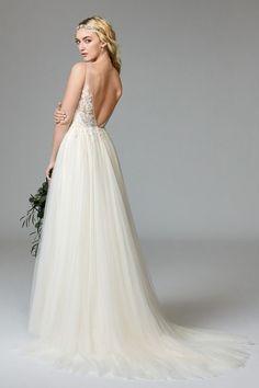 romantic wedding dress, illusion lace, tulle wedding gown, open back wedding dress, wildflowerbridal