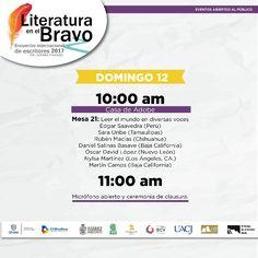 #LiteraturaEnElBravo 2017 concluye este domingo. Te invitamos a la última mesa de este encuentro de escritores que tendrá lugar en la Casa de Adobe en ciudad Juárez en punto de las 10:00 am. Como actividad final, el micrófono estará abierto para el intercambio con los autores. ¡Te esperamos! #Juárez #ChihuahuaNuestraCultura  #SomosFrontera