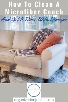 It's so easy to clean a microfiber couch! Microfiber is great at repelling stains, but when it does get stained it's easy to clean with one simple ingredient. #organizationjunkieblog #howtocleanamicrofibercouch Microfiber Couch, Homemade Cleaning Products, How To Make Homemade, Laundry Detergent, Love Seat, Organization, Flooring, Easy, Furniture