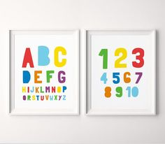 Nursery Printable Decor (Set of Alphabet & Numbers Printable Art, Alphabet Nursery Wall Art, A to Kids Room Wall Art, Nursery Wall Art, Nursery Decor, Nursery Prints, Printable Numbers, Printable Wall Art, Alphabet Nursery, Monochrome Nursery, Printing Websites