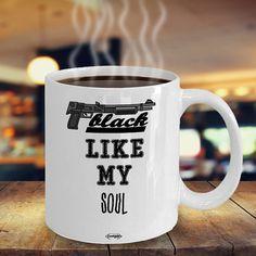 Funny Mugs, Rings, T-Shirts & more by FunnyLara Black Coffee, My Coffee, Coffee Cups, Cool Kitchen Gadgets, Cool Kitchens, Coffee Lover Gifts, Coffee Lovers, Black Like Me, Coffee Drinkers