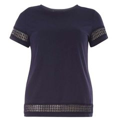 Dorothy Perkins Navy lace insert tee ($25) ❤ liked on Polyvore featuring tops, t-shirts, blue, blue cotton t shirts, jersey tee, navy jersey, navy tee and blue jersey