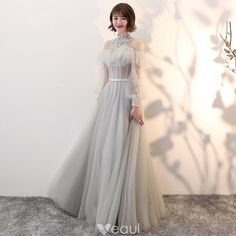 78e006474e6f Elegant Grey See-through Prom Dresses 2018 A-Line   Princess High Neck Long  Sleeve Appliques Lace Pearl Sash Floor-Length   Long Backless Ruffle Formal  ...