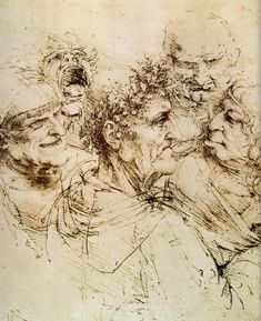 Da Vinci -- Study of Grotesque Heads c.1490