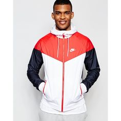 Nike Wind Breaker Jacket 727324-100 ($63) ❤ liked on Polyvore featuring men's fashion, men's clothing, white, nike mens clothing, tall mens clothing and nike mens apparel