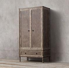 Louis XVI Treillage Armoire Furniture Vanity, Retro Furniture, Kids Furniture, Louis Xvi, Armoire, Rh Rugs, Storage Mirror, Door Makeover, Medicine Cabinet Mirror