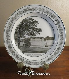 Antique Creil French Creamware Plate of English Scene Heveningham Hall #Creil