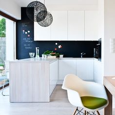 dining room and kitchen details. IPNOTIC Architecture: Minimalistic Black and White Interior Design with Oak Floors And Furniture Black And White Interior, White Interior Design, Interior Decorating, Black White, Interior Designing, White Oak, Minimalist Home, Kitchen Interior, Interior Architecture