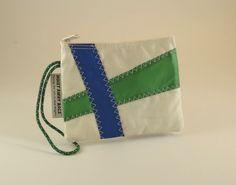 Recycled Sails Sail Bag Nautical Wristlet Small Purse Bridesmaid Bag Sailbag White Bag Blue Bag Green Bag (K2)