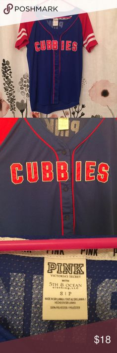 Victoria's Secret PINK CUBS Jersey This is a CHICAGO CUBS lightweight jersey from the Victoria's Secret PINK MLB line! Super cute & representing the best MLB team - 2016 World Series Champs! Only worn 1 time, basically in perfect condition! PINK Victoria's Secret Tops