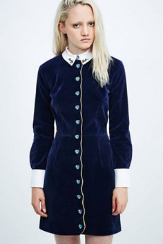 £ BUY House of Holland Velvet Scallop Button Dress / Urban Outfitters / £350