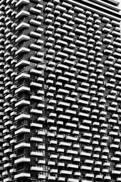 Textural Patterns in Architecture - apartment block with graphic contrast & repetition