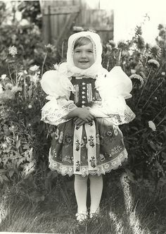 Girl in czech costume. Vintage Pictures, Old Pictures, Old Photos, Folk Costume, Costumes, Drawing Wallpaper, My Heritage, Beautiful Patterns, Fashion History