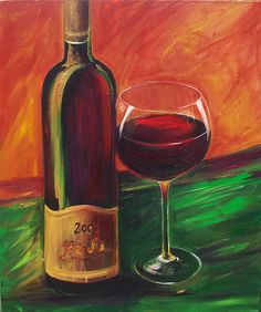 Wine painting , Wine bottle and glass limited edition giclee canvas print size 16x20 with warm colors of orange and green background