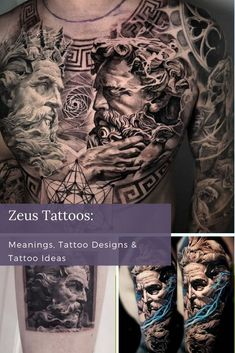 Unique Tattoos For Women, Cool Tattoos For Guys, Zeus Tattoo, Greek Mythology Tattoos, Color Tattoos, Cool Forearm Tattoos, Portrait Tattoos, Best Sleeve Tattoos, Best Tattoo Designs