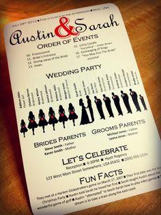 Silhouette Wedding Program, Printable PDF file - Design 1. $40.00, via Etsy.