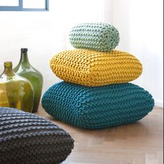 garter stitch knitted pillows