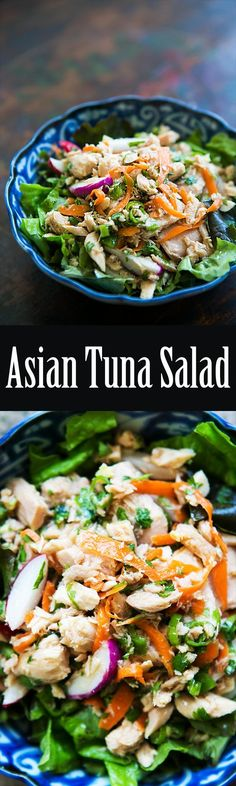 Asian inspired no-mayo tuna salad! with canned tuna, radishes, cilantro, shredded carrot, ginger, rice vinegar and sesame oil. Easy! On SimplyRecipes.com