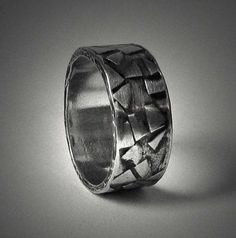 Items similar to Mens rustic textured wedding band - custom wide silver wedding ring - Unique customized artisan engagement or commitment ring for men on Etsy Mens Rustic Wedding Bands, Wedding Men, Unique Silver Rings, Silver Wedding Rings, Gold Thumb Rings, Jewellery Shop Near Me, Handmade Sterling Silver, Bracelets For Men, Or Rose