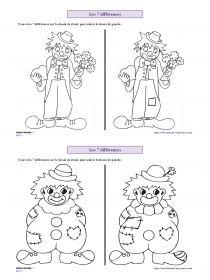 Librairie-Interactive - Les 7 différences de carnaval. Plusieurs documents à imprimer