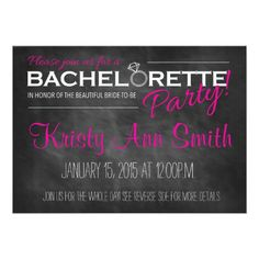 Chalkboard Bachelorette Party Invitation. Click through to find matching games, favors, thank you cards, inserts, decor, and more. Or shop our 1000+ designs for all of life's journeys. Weddings, birthdays, new babies, anniversaries, and more. Only at Aesthetic Journeys