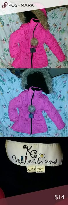 Kc collections Winter coat KC collections adorable winter coat,bright pink,fitted,zip up with a snap belt,hoodie has brown fur around the hoodie ,precious little eskimo,normal wear ,actually used less than a handful of times ,great jacket,smoke free home and same day shipping KC collections Jackets & Coats Puffers