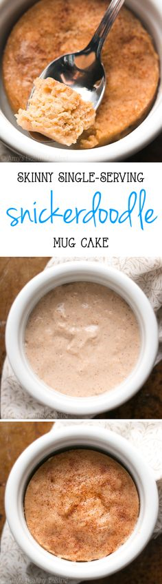 Skinny Snickerdoodle Mug Cake doesn't taste healthy at all! It's SO good -- you'll never need another recipe! Sweet, perfectly tender & of protein! Skinny Snickerdoodle Mug Cake doesn't taste healthy at all! It's SO good -- you'll never n Healthy Sweets, Healthy Dessert Recipes, Healthy Baking, Delicious Desserts, Yummy Food, Single Serve Desserts, Single Serving Recipes, Just Desserts, Mug Recipes