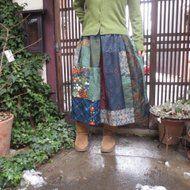 着物リメイク☆紬と銘仙を楽しくパッチ&パッチ雪の中の春待ちスカート78㎝丈