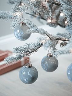 NEW Twelve Handmade Grey Glass Baubles - Tree Decorations - Christmas