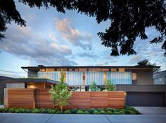 Ipe wood fence exterior midcentury with motor court contemporary exterior horizontal lines