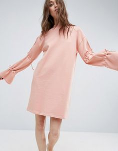 ASOS Sweat Dress With Tie Sleeve - Pink