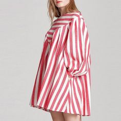 Casual Loose Women Boho Puff Sleeve Striped Print A-Line Mini Dress with Pocket Ghana, Georgia, Boho Chic, Maternity Dresses For Baby Shower, Dressing, Mini Robes, Korea, Mini Vestidos, Blouse Styles