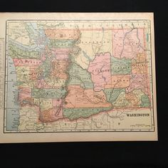 VERMONT Antique Map Original Old English Print Poster State - 8x11 us state map
