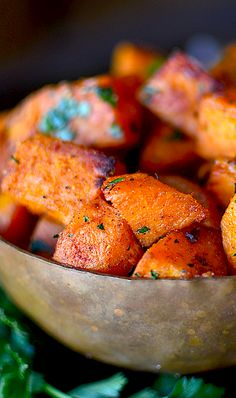 These savory oven roasted sweet potatoes are the perfect addition to your Thanksgiving dinner menu! Always soft on the inside and perfectly seasoned!