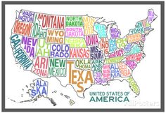 United States of America Stylized Text Map Colorful Poster