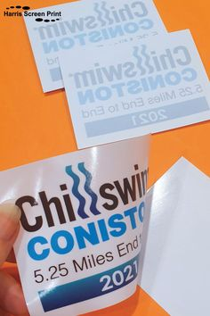 It's great to be printing stickers for events and festivals this year. Rectangle shaped full colour Car window stickers were printed for the 2021 Chillswim Coniston event. The Coniston chillswim event is 5.25 miles end to end in the open ocean. Run by Epic Events, they also run the Ullswater chillswim event, again in UK open water. Car Window Stickers, Car Stickers, Rear Window, Rectangle Shape, Custom Cars, Screen Printing, Open Water, Festivals, Prints