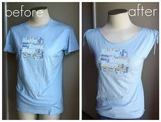 I HATE TIGHT NECKLINES... THIS COULD WORK! turn a plain T in to a cute T  http://refashionco-op.blogspot.com/2011/11/too-big-t-shirt-transformation.html