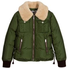 DSquared2 Boys Green Down Padded Jacket with Wool Collar