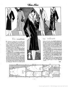 Manteau en velour (La Femme de France 09/12/1928)