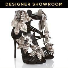 Giuseppe Zanotti Snake Print Flower Leather Sandals