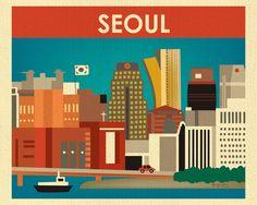 Seoul Skyline Art Print, South Korea Wall Art, Korean Travel Poster, Korean Wall Art, Horizontal Print, Seoul Nursery Art - style E8-O-SEO by LoosePetals on Etsy https://www.etsy.com/listing/123847682/seoul-skyline-art-print-south-korea-wall