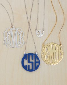 Monogram necklaces are available in a variety of shapes and sizes, making the perfect personalized gift.