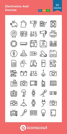 Electronics And Devices  Icon Pack - 50 Line Icons