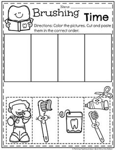 How to Brush Your Teeth - Sequence Worksheet for Preschool