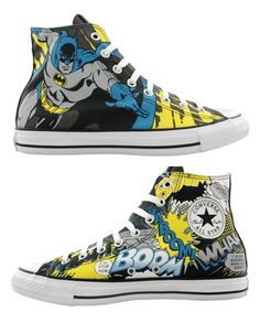 Superhero Sneakers by Converse - Batman Clothing - Ideas of Batman Clothing - NOTE TO SELF: Get these shoes then go to batman movie Batman Converse, Batman Shoes, Cool Converse, Batman Outfits, Converse Sneakers, Custom Converse, High Top Chucks, High Top Sneakers, Bon Sport