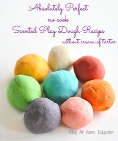 Absolutely perfect no cook scented play dough recipe by Stay At Home Educator does not call for cream of tartar and is fool proof. See tips and tricks for perfect play dough every time.