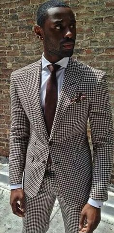 New Coat Pant Design Houndstooth Mens Tuxedos Groom's Wear Tuxedo Wedding Suits For Men Blazer Masculino Plus Size(suit+pant) Fashion Moda, Suit Fashion, Look Fashion, Mens Fashion, Fashion Menswear, Fashion Details, Street Fashion, Spring Fashion, Style Gentleman