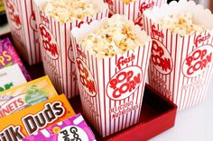 Serve popcorn and a few of your favorite candies. If you want to add something special, try a recipe for spicy popcorn or a homemade Italian cheese version